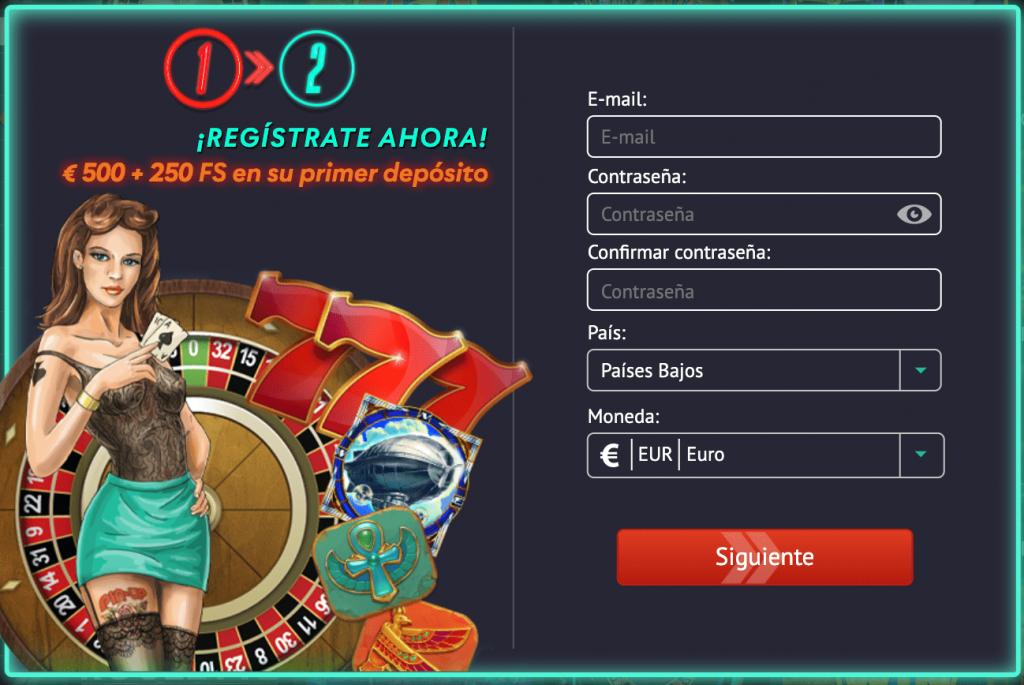 Pin Up Casino Perú - formulario de registro en el casino