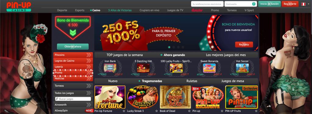 Pin Up Casino Perú - página principal del sitio oficial