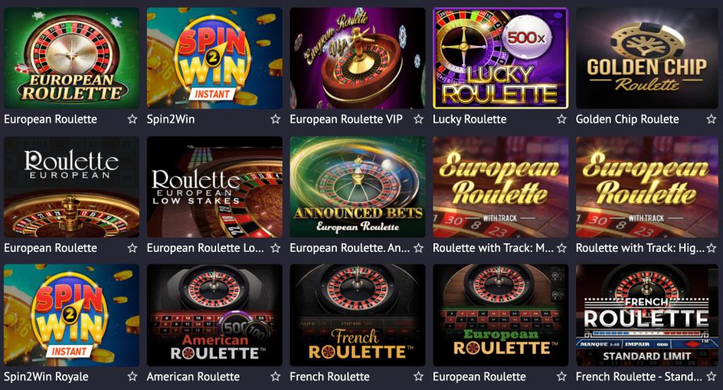 Pin Up Casino Perú - sección de ruletas de casino