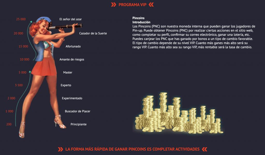 Pin Up Casino Perú - sistema de privilegios